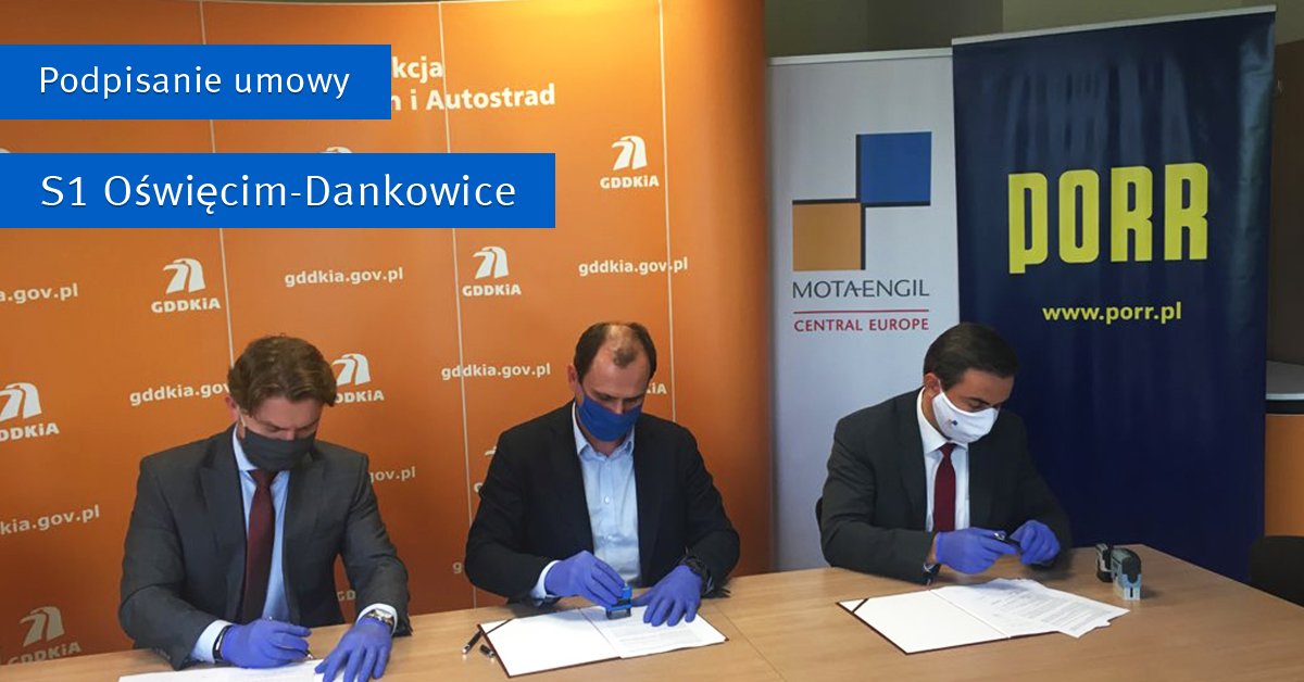 Signing a contract for the construction of the S1 Kosztowy - Bielsko-Biała expressway Section II